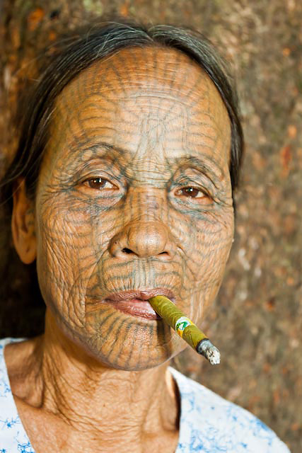 Chin Tribal Woman  with Cigar 19 x 27 inches